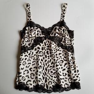 White House Black Market 100% Silk Leopard Cami XS